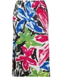 Marni Paintbrush Effect Straight Midi Skirt - Pink