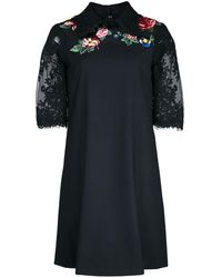 Marchesa Floral Lace Embroidered Mini Dress - Black