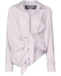 Jacquemus Le Bahia Draped Blouse - Purple