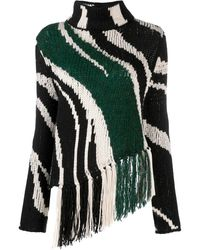 Just Cavalli Fringe Zebra Print Jumper - Black