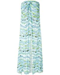 Amir Slama Wave-print Strapless Dress - Blue