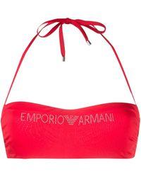 Emporio Armani ロゴ ビキニトップ - レッド