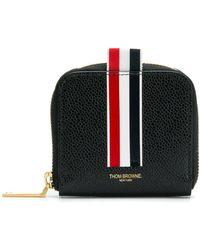 Thom Browne Vertical Inatarsia Stripe Zip-around Cardholder In Pebble Grain Leather - Black