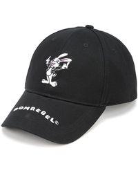DOMREBEL Rabbit Embroidered Baseball Cap - Black