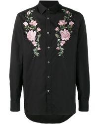 Alexander McQueen Рубашка С Вышивкой Роз - Черный