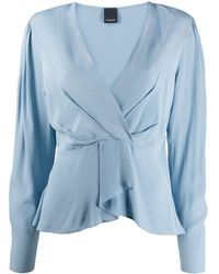 Pinko Ruffled Hem Deep V-neck Blouse - Blue