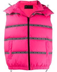 Versace Puffer Logo Tape Gilet Jacket - Pink
