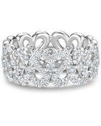 De Beers 18kt White Gold Swan Diamond Band Ring - Metallic