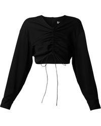 Christopher Esber シャーリング クロップドシャツ - ブラック