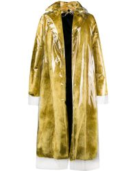 CALVIN KLEIN 205W39NYC - Faux Fur Coat With Detachable Transparent Overlay - Lyst