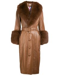 Saks Potts Foxy Leather Coat - Brown