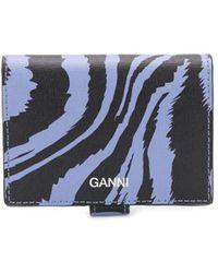 Ganni 二つ折り財布 - ブルー