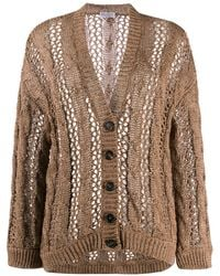 Brunello Cucinelli Button Down Cable-knit Cardigan - Brown