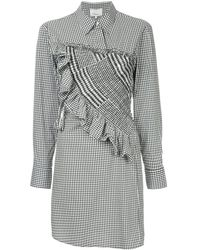 3.1 Phillip Lim Asymmetrical Gingham Shirt Dress - Серый