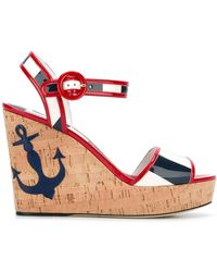 Dolce & Gabbana Keira Wedge Sandals - Red