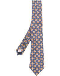 Tagliatore Geometric Embroidered Tie - Blue
