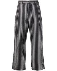 Casey Casey Crinkled Stripe-pattern Wide-leg Pants - Black