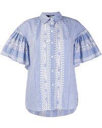 Karl Lagerfeld Рубашка В Полоску С Вышивкой - Синий
