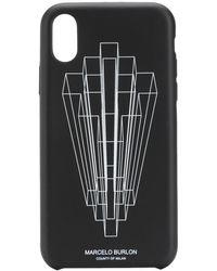 Marcelo Burlon Funda para iPhone XS con logo gráfico - Negro