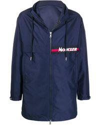Moncler Abrigo con cremallera y capucha - Azul