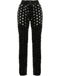 Maison Margiela Perforated Slim-fit Jeans - Black