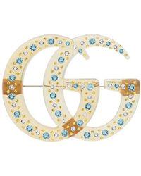 Gucci GG Broche Met Kristallen - Geel