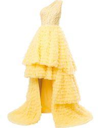 Saiid Kobeisy Asymmetric Flared Dress - Yellow