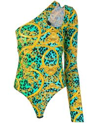 Versace Jeans Couture Боди С Вырезами И Леопардовым Принтом - Синий