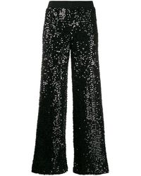 P.A.R.O.S.H. Sequin-detail Cropped Trousers - Black