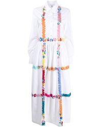 Mira Mikati Embroidered Shirt Dress - White