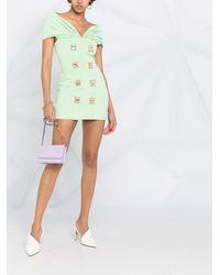 Balmain Платье Мини С Открытыми Плечами И Кристаллами - Зеленый