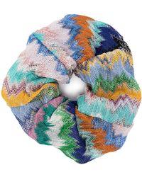 Missoni Chouchou à motif zigzag - Bleu