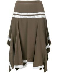 Chloé Lace-embroidered Flared Skirt - ブラウン