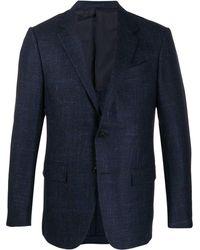 Ermenegildo Zegna Check Print Single Breasted Jacket - Blue