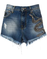 John Richmond Snake Embellished Denim Shorts - Blue