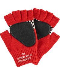 Supreme チェック フィンガーレス手袋 - レッド
