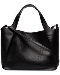 Stella McCartney - Black Stella Logo Perforated Faux Leather Cross Body Bag - Lyst