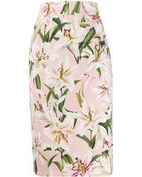 Dolce & Gabbana Rok Met Bloemdessin - Roze
