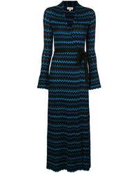 L'Agence ジグザグプリント ドレス - ブルー