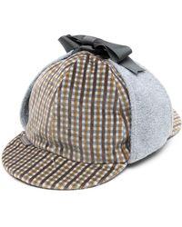 Anglozine Don Check-panelled Deerstalker Hat - Multicolour