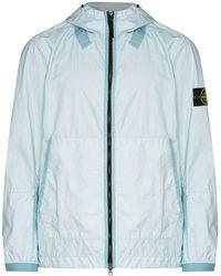 Stone Island Hooded Lightweight Jacket - Blue