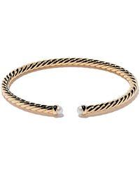 David Yurman 18kt yellow gold Cable Spira pearl cuff bracelet - Multicolore