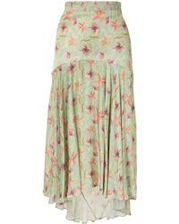 Alexis Bazli Floral Asymmetric Skirt - Green