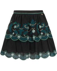Twin Set Floral Embroidered A-line Skirt - Black
