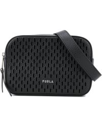 Furla Laser Cut Logo Belt Bag - Black
