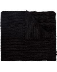 Y-3 Black chunky knit logo scarf - Noir