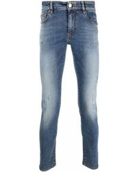 PT01 Low-rise Stonewashed Skinny Jeans - Blue