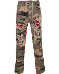 Mostly Heard Rarely Seen Pantalon bicolore à motif camouflage - Vert