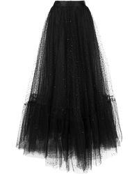 Marchesa Robe longue à empiècement transparent - Noir