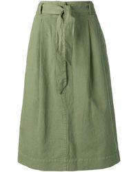YMC Belted A-line Skirt - Green